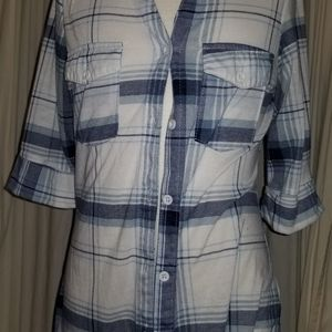 Paper + Tee plaid button up top size S